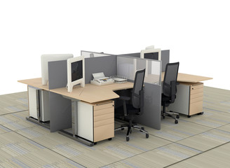interior of system office desks with partitions