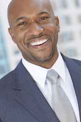 Happy African American Man or Businessman