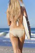Beautiful Woman Surfer In Bikini With Surfboard At Beach