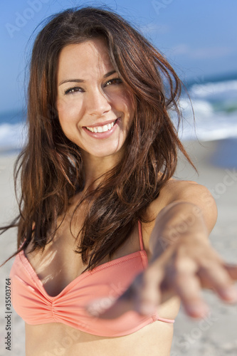 Beautiful Woman In Bikinis on Sunny Beach