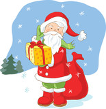 Santa Claus with Christmas present. Artistic vector illustration