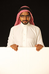 arab young man with ad space.