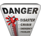 Danger Thermometer Measuring Levels of Emergency