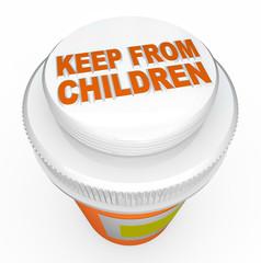 Keep From Children Medicine Child-Proof Bottle Cap Warning