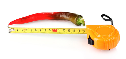 Red hot pepper with measuring tape isolated on white