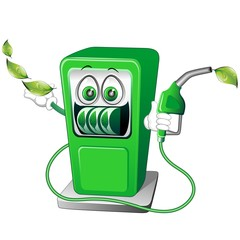 Benzina Verde Distributore Cartoon-Green Petrol-Vector
