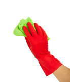 Hand in rubber glove