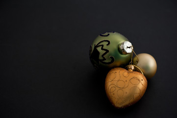 Christmas balls on black background
