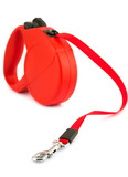 Red retractable leash for dog poster