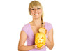 Young woman with a pumpkin for Halloween