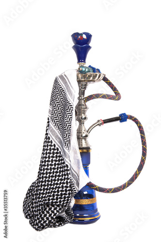 Blue and silver arabic waterpipe with arabic kerchief