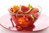 Fresh salad with figs, grapefruit, tangerine and pomegranate