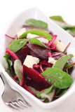 salad with beetroot, goat cheese and chard