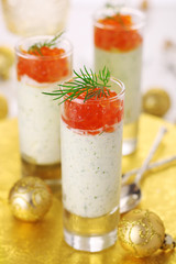 Appetizer with cream cheese and red caviar