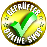 Geprüfter Online Shop Button/Plakette - goldene Version