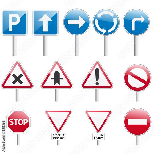 vecteur, collection de panneaux routier