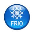 Boton brillante simbolo y texto FRIO