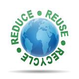 Esfera brillante planeta 3d con texto REDUCE REUSE RECYCLE poster