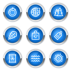 Ecology web icons set 3, blue buttons