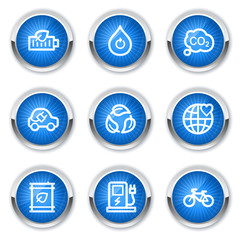 Ecology web icons set 4, blue buttons