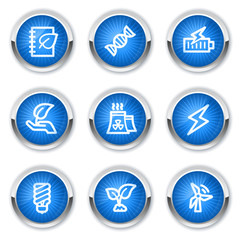 Ecology web icons set 5, blue buttons