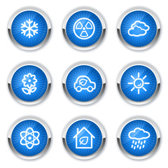 Ecology web icons set 2, blue buttons