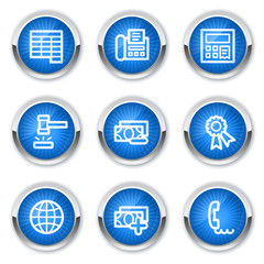 Finance web icons set 2, blue buttons
