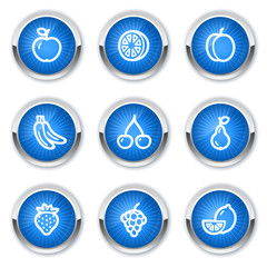 Fruits web icons, blue buttons