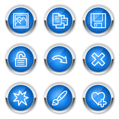 Image viewer web icons set 2, blue buttons