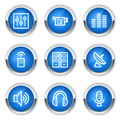 Media web icons, blue buttons