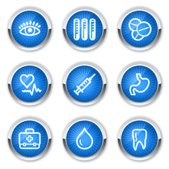 Medicine web icons set 1, blue buttons