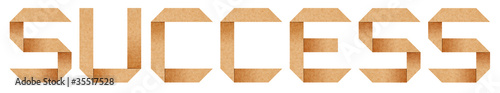 """Success"" word from Origami paper letterswith clipping path"