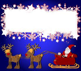 Grußkarte Weihnachtsmann mit Schlitten