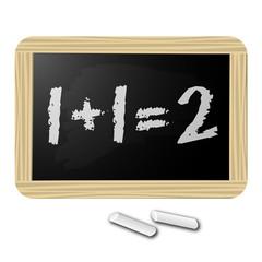 1+1=2 Ardoise blackboard