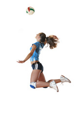 gir playing volleyball