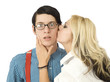 Surprised by Valentine kiss
