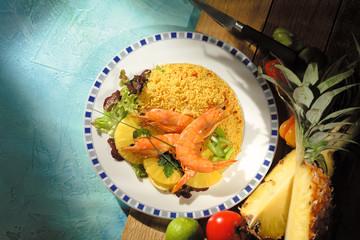 Gambas Couscous Ananas