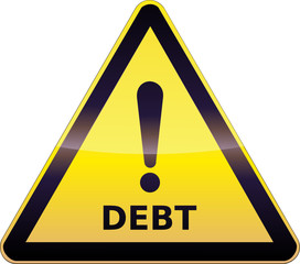 Yellow Debt Warning Sign
