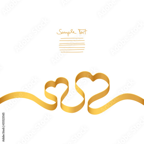 Gold Ribbon 2 Hearts