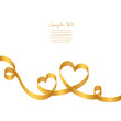 Gold Ribbon 2 Hearts & Swirls