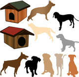 silhouette of a dog, and kennels poster