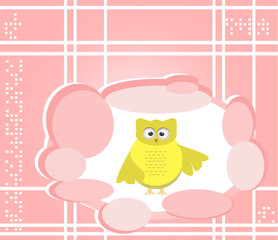 owl cute Cartoon bird greeting card background