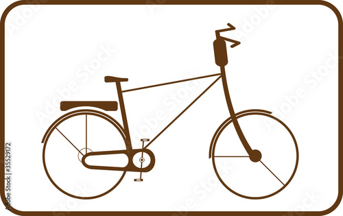 Silhouette brown bike on white background in frame