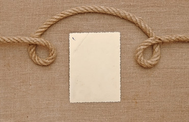 Old vintage photo on brown canvas background