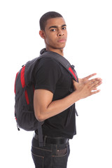 African American teenage student with school bag