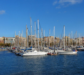 panorama of port and quay in Barcelona, Port Vell, Spain, Catalo