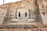 ancient seated buddha in gal vihara, polonnaruwa, sri lanka