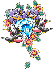 sparrow diamond tattoo