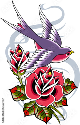 bird and rose emblem