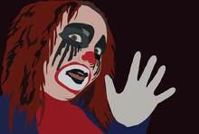 Wizerunek klauna z przerażającym gimom